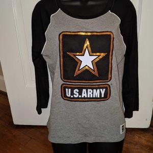 Medium U.S Army Bling Tee 3/4 length sleeves New